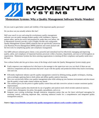 Momentum Systems: Why a Quality Management Software Works Wonders!