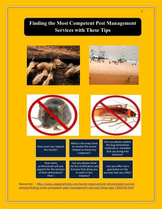 Finding the Most Competent Pest Management Services with These Tips