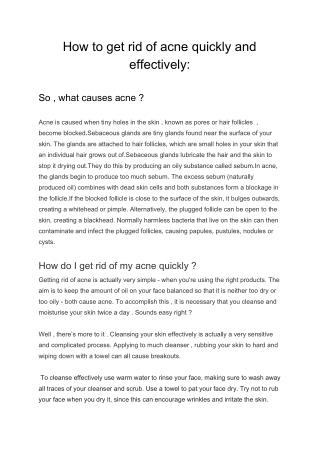 How to get rid of acne quickly and effectively?