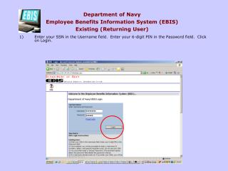 Department of Navy Employee Benefits Information System EBIS Existing Returning User