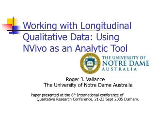 Working with Longitudinal Qualitative Data: Using NVivo as an Analytic Tool