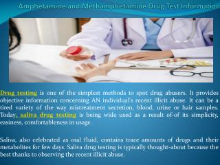 Amphetamine and Methamphetamine Drug Test Information
