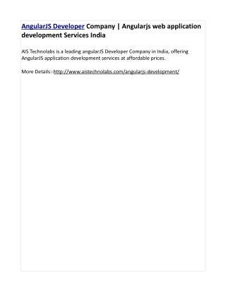 AngularJS Developer Company   Angularjs web application development Services India