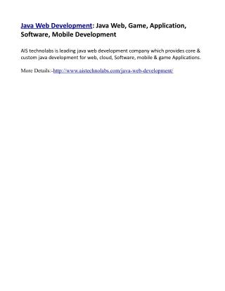 Java Web Development: Java Web, Game, Application, Software, Mobile Development