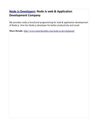 Node Js Developers: Node Js web & Application Development Company