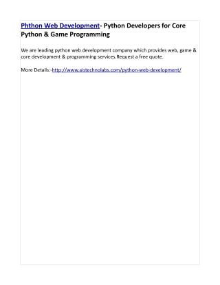 Phthon Web Development- Python Developers for Core Python & Game Programming