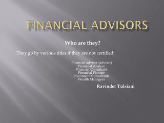 Finance Planner | Ravinder Tulsiani