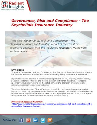 Insurance Industry in Seychellois to The Governance, Risk and Compliance The Insurance Industry in Seychellois - The Gov