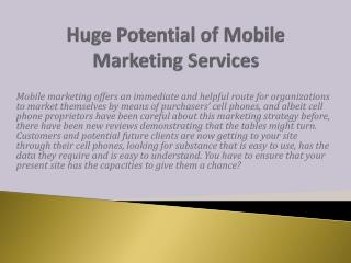 Huge Potential of Mobile Marketing Services