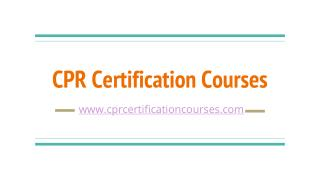CPR Certification Courses Online