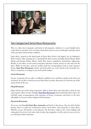 See Categorized Santa Rosa Restaurants