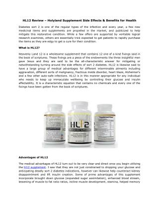 HL12 Review – Holyland Supplement Side Effects & Benefits for Health