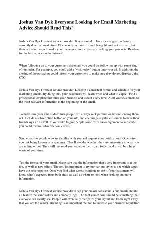 Joshua Van Dyk Helpful Hints for Internet Marketing Success Today