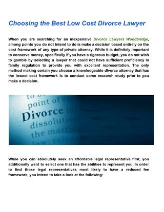 Choosing The Best Low Cost Divorce Lawyer