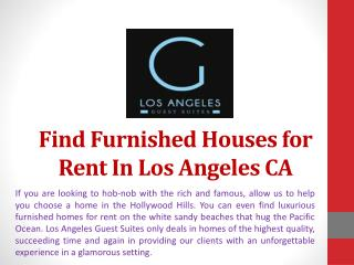 Find Furnished Houses for Rent in Los Angeles CA