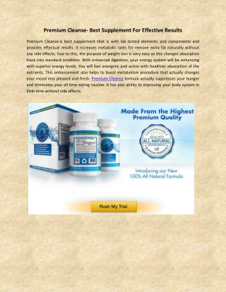 Premium Cleanse- Best Supplement For Effective Results