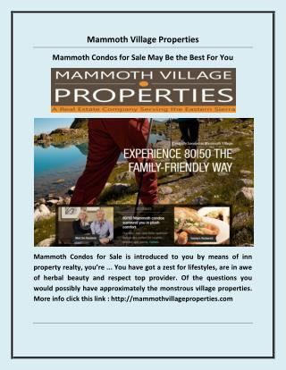 Mammoth Condos for Sale May Be the Best For You