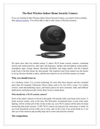 The Best Wireless Indoor Home Security Camera