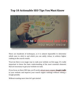 Top 10 Actionable SEO Tips You Must Know