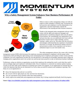 Why a Safety Management System Enhances Your Business Performance 10 Folds!