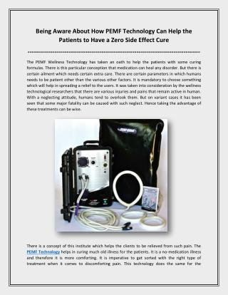 How Pemf Technology Can Help The Patients To Have A Zero Side Effect Cure