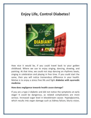 Enjoy Life, Control Diabetes!