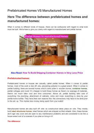 Prefabricated Homes VS Manufactured Homes
