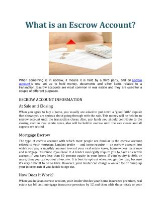 What is an Escrow Account.docx