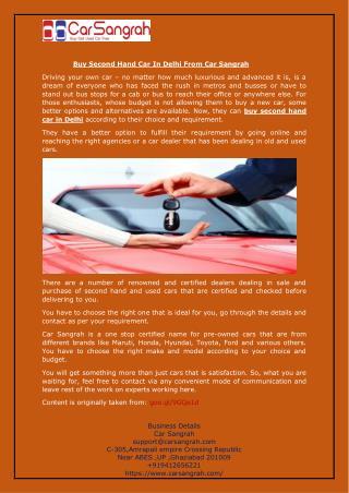 Buy Second Hand Car In Delhi From Car Sangrah