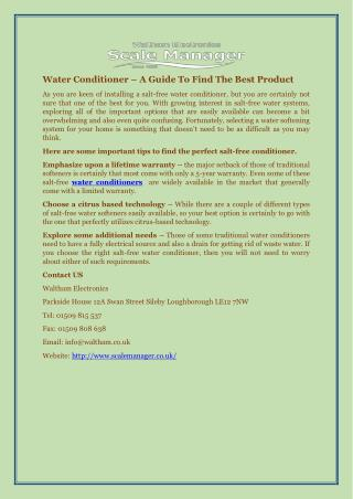 Water Conditioner – A Guide To Find The Best Product