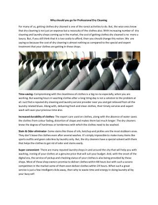 Why should you go for Professional Dry Cleaning