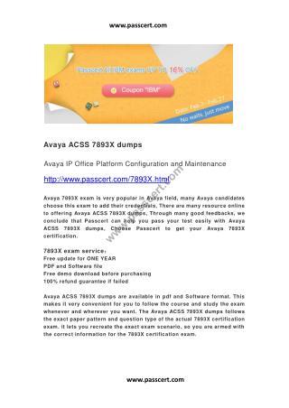 Avaya ACSS 7893X dumps