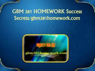 GBM 381 HOMEWORK Success Secrets/gbm381homework.com