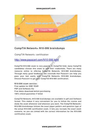 CompTIA Network  N10-006 braindumps