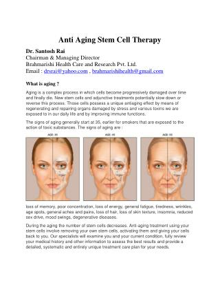 Stem Cell Therapy by Dr. Santosh Rai