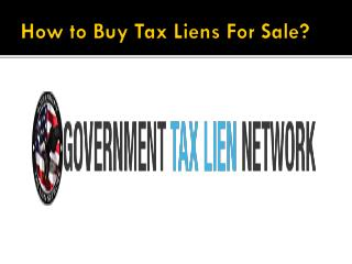 How to Buy Tax Lien for Sale?