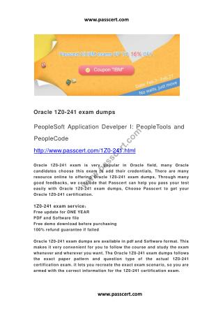 Oracle 1Z0-241 exam dumps