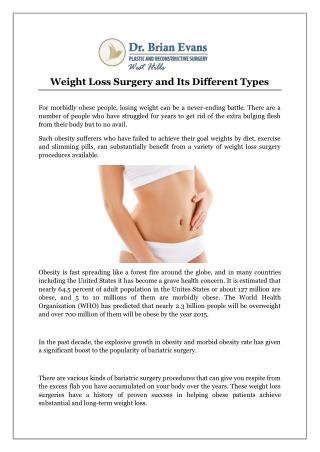 Weight Loss Surgery and Its Different Types
