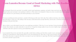 Leon Lumsden Helping You Get Up to Speed with Great Email Marketing Advice