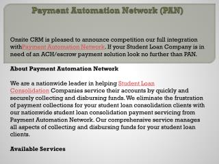 Payment Automation Network (PAN)