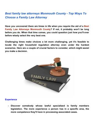 Best family law attorneys Monmouth County - Top Ways To Choose a Family Law Attorney
