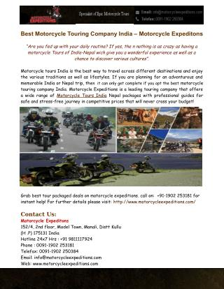 Motorcycle Expeditons - Motorcycle Tours India Nepal