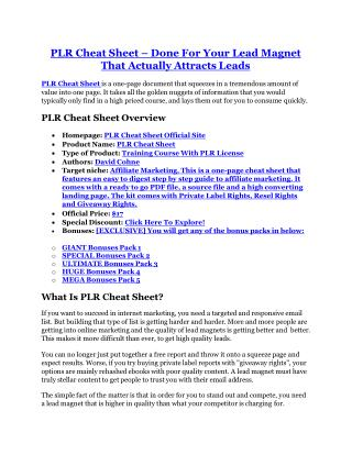 PLR Cheat Sheet REVIEW - DEMO of PLR Cheat Sheet