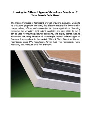 Looking for Different types of Gatorfoam Foamboard? Your Search Ends Here!