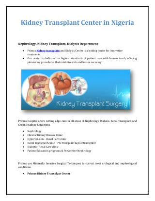 Kidney Transplant Center in Nigeria