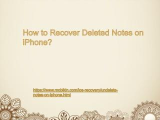 How to Recover Deleted Notes on iPhone?