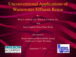Unconventional Applications of Wastewater Effluent Reuse