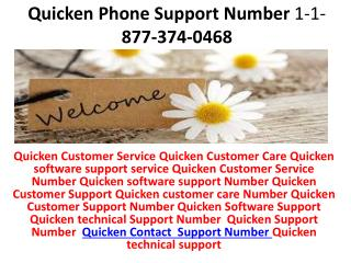 Quicken Customer Care Service Support Number 1-877-374-0468