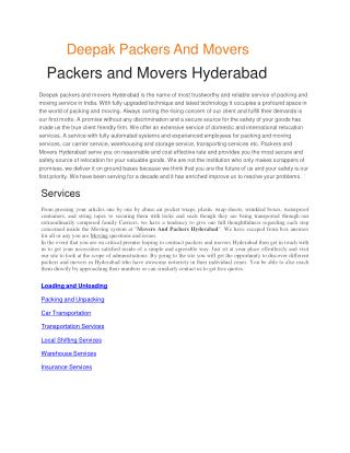 Packers and Movers Hyderabad | Movers and Packers Hyderabad
