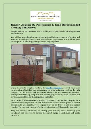 Render Cleaning By Professional K-Rend Recommended Cleaning Contractors